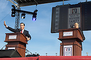 """Jon Stewart and Steve Colbert Hosting  the """"Rally to Restore Sanity And/Or Fear""""  in Washington DC.  A crowd estimated  between 100,000- 200,000  came from across America  to the National Mall on October 30, 2010 before the midterm elections to participate in the """"Rally to Restore Sanity And/Or Fear"""" . Jon Stewart insisted the rally was not a political event, however; the audience had messages of their own on hand made signs for the occasion, many with a political message."""
