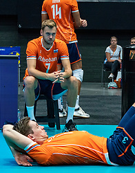 11-08-2019 NED: FIVB Tokyo Volleyball Qualification 2019 / Netherlands - USA, Rotterdam<br /> Final match pool B in hall Ahoy between Netherlands vs. United States (1-3) and Olympic ticket  for USA / Gijs Jorna #7 of Netherlands, foreground Maarten van Garderen #3 of Netherlands