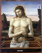 Christ in the Tomb' 1460: Giovanni Bellini (1427-1516) Italian artist.