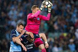 April 28, 2018 - Sydney, NSW, U.S. - SYDNEY, NSW - APRIL 28: Sydney FC goalkeeper Andrew Redmayne (1) catches a cross under pressure at the A-League Soccer Semi Final Match between Sydney FC and Melbourne Victory on April 28, 2018 at Allianz Stadium in Sydney, Australia. (Photo by Speed Media/Icon Sportswire) (Credit Image: © Speed Media/Icon SMI via ZUMA Press)