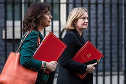 © Licensed to London News Pictures. 02/04/2019. London, UK. Minister of State at Department for Business, Energy and Industrial Strategy Claire Perry (L) and Secretary of State for Work and Pensions Amber Rudd (R) leave 10 Downing Street after Prime Minister Theresa May delivered a statement announcing that she will seek a further extension of Article 50. Photo credit: Rob Pinney/LNP