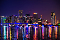 Miami Skyline on Biscayne Bay (Twilight)