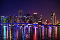 Miami Skyline on Biscayne Bay (Twilight)