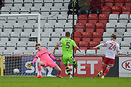 Stevenage Forward, Matthew Godden (24) scores a goal to make it 1-0 during the EFL Sky Bet League 2 match between Stevenage and Forest Green Rovers at the Lamex Stadium, Stevenage, England on 21 October 2017. Photo by Adam Rivers.