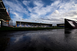A general view of Montgomery Waters Meadow, home to Shrewsbury Town - Mandatory by-line: Robbie Stephenson/JMP - 20/10/2020 - FOOTBALL - Montgomery Waters Meadow - Shrewsbury, England - Shrewsbury Town v Bristol Rovers - Sky Bet League One