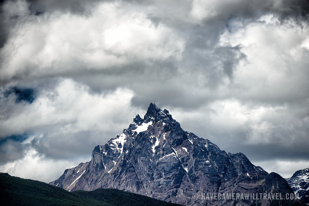 Ominous clouds gather above Monte Olivia (Mount Olivia) in Ushuaia, Argentina.