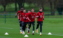 CARDIFF, WALES - Tuesday, November 17, 2020: Wales' (L-R) Josh Sheehan, Tom Lockyer and David Brooks during a training session at the Vale Resort ahead of the UEFA Nations League Group Stage League B Group 4 match between Wales and Finland. (Pic by David Rawcliffe/Propaganda)
