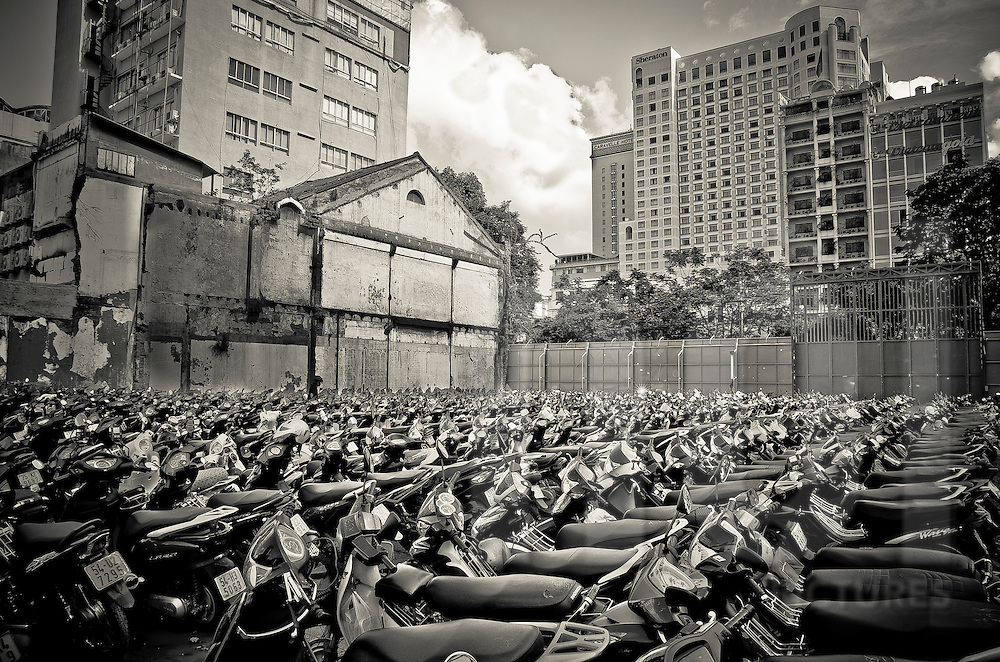 Sea of motorbikes fills a parking lot in Ho Chi Minh City, Vietnam, Southeast Asia