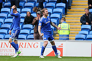 Aron Gunnarsson of Cardiff city celebrates after he scores his teams 1st goal. EFL Skybet championship match, Cardiff city v Nottingham Forest at the Cardiff City Stadium in Cardiff, South Wales on Easter Monday 17th April 2017.<br /> pic by Andrew Orchard,