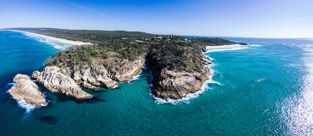 Aerial panorama photograph of The Gorge, Point Lookout, North Stradbroke Island, Queensland, Australia