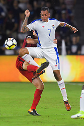 October 6, 2017 - Orlando, Florida, USA - Panama forward Blas Perez (7) goes up for a ball against United States midfielder Michael Bradley (4) during a World Cup qualifying game at Orlando City Stadium on Oct. 6, 2017 in Orlando, Florida.  The US won 4-0....Zuma Press/Scott A. Miller (Credit Image: © Scott A. Miller via ZUMA Wire)