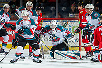 KELOWNA, CANADA - MARCH 3:  Roman Basran #30 of the Kelowna Rockets defends the net during first period against the Portland Winterhawks on March 3, 2019 at Prospera Place in Kelowna, British Columbia, Canada.  (Photo by Marissa Baecker/Shoot the Breeze)
