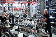 Mercedes-AMG engine production factory in Affalterbach, Germany - engineers at work each hand-building one complete M157 5.5L V8 biturbo engine