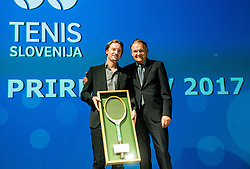 Miha Rakar of BTC and  Marko Umberger during Slovenian Tennis personality of the year 2017 annual awards presented by Slovene Tennis Association Tenis Slovenija, on November 29, 2017 in Siti Teater, Ljubljana, Slovenia. Photo by Vid Ponikvar / Sportida
