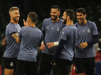 Sergio Ramos of Real Madrid shares a joke with team-mates<br /> <br /> Photographer Kevin Barnes/CameraSport<br /> <br /> UEFA Champions League Final - Training session - Juventus v Real Madrid - Friday 2nd June 2017 - Principality Stadium - Cardiff<br />  <br /> World Copyright © 2017 CameraSport. All rights reserved. 43 Linden Ave. Countesthorpe. Leicester. England. LE8 5PG - Tel: +44 (0) 116 277 4147 - admin@camerasport.com - www.camerasport.com