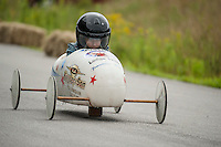 #94 Justin Vayda of Team Keyser and Son races a heat during the 2nd annual Franklin Elks Soap Box Derby on Saturday morning.  (Karen Bobotas/for the Laconia Daily Sun)