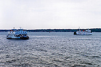 Java, East Java, Surabaya. Ferries between Surabaya and Madura. In 2009 they were replaced by the Suramadu Bridge, the first bridge to cross the Madura Strait.