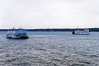 Java, East Java, Surabaya. Ferries between Surabaya and Madura. In 2009 they were replaced by the Suramadu Bridge, the first bridge to cross the Madura Strait.