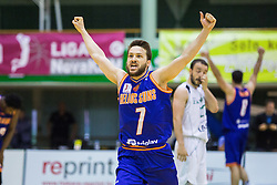 Jan Mocnik of KK Helios Suns celebrating win after the basketball match between KK Zlatorog and KK Helios Suns in 1st match of Nova KBM Slovenian Champions League Final 2015/16 on May 29, 2016  in Dvorana Zlatorog, Lasko, Slovenia.  Photo by Ziga Zupan / Sportida