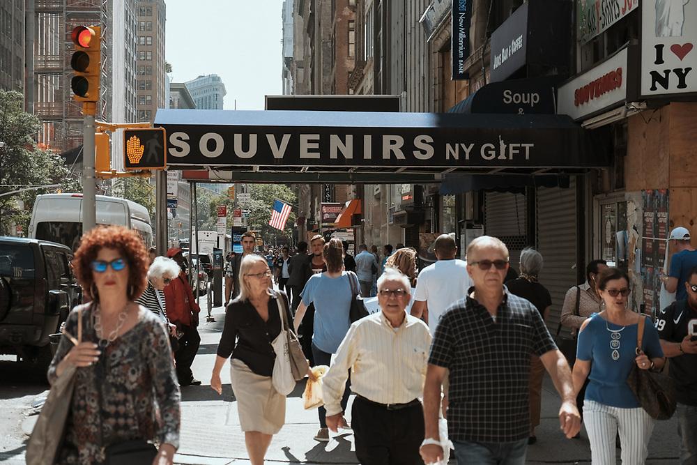 People on 8th Av typical ny street scene. NYC 2017