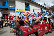 """Feast of """"Mamacha del Carmen"""" of Paucartambo. The real party starts with Maq'ta, the masked group craziest, not staged any choreography but undertakes to confusion among the people"""