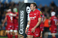 Hadleigh Parkes of the Scarlets. Guinness Pro14 rugby match, Ospreys v Scarlets at the Liberty Stadium in Swansea, South Wales on Saturday 7th October 2017.<br /> pic by Andrew Orchard, Andrew Orchard sports photography.