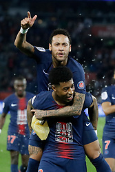 File photo - PSG's Neymar and Fresnel Kimpembe end celebrating during the Ligue 1 Paris Saint-Germain (PSG) v Monaco (ASM) on April 21, 2019 at the Parc des Princes stadium in Paris, France. Kylian Mbappe scored a hat-trick and Neymar made his return from a three-month injury lay-off as Paris Saint-Germain began its Ligue 1 title celebrations with a 3-1win over visitorMonaco on Sunday. Paris St Germain sporting director Leonardo is prepared to sell Neymar after the Brazil forward failed to report for pre-season training. Photo by Henri Szwarc/ABACAPRESS.COM