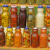 North America, Mexico, Baja. Marinated chilis, olives and vegetables.