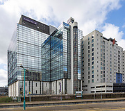 Modern architecture Premier Inn Cardiff City centre hotel building seen from Queen Street station, Cardiff, South Wales, UK