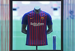 July 13, 2018 - Barcelona, Catalonia, Spain - the FC Barcelona t'shirt during the presentation of Clement Lenglet as a new player of FC Barcelona, on 13th July, 2018, in Barcelona, Spain. (Credit Image: © Joan Valls/NurPhoto via ZUMA Press)