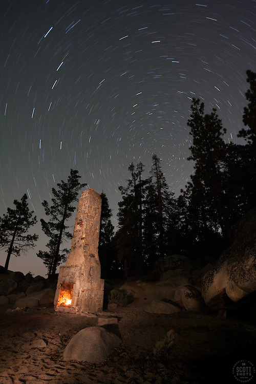 """""""Chimney Beach at Night"""" - Photograph at night of the chimney at Chimney Beach, Lake Tahoe. A long exposure and light painting with a flashlight was used to achieve the effect."""