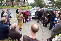 © Licensed to London News Pictures. 29/04/2014. Slough, UK NIGEL FARAGE leader of UKIP in Slough today 29 April 2014 to congratulate local activists on more than doubling the candidates the party will field in local elections. Photo credit : Stephen Simpson/LNP