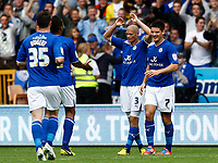 Football - The Championship- Wolverhampton Wanderers v Leicester City -  Leicester's Paul Konchesky celebrates his goal at Molineux