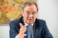 31 MAY 2021, BERLIN/GERMANY:<br /> Armin Laschet, CDU, Ministerpraesident Nordrhein-Westfalen und CDU Bundesvorsitzender, waehrend einem Interview, Landesvertretung NRW<br /> IMAGE: 20210531-01-005