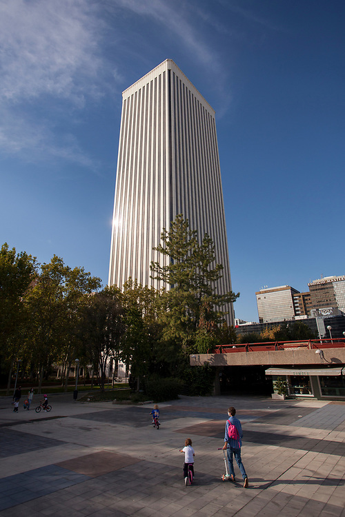 MADRID, SPAIN - OCTOBER 9: The iconic Torre Picasso raises at Azca business area on October 9, 2020 in Madrid, Spain. Azca, considered the business heart of the city, is a business and leisure area in Madrid spanning from Nuevos Ministerios to the Santiago Bernabeu stadium, flanked by Paseo de la Castellana and Calle Orense, two of the most iconic streets in the capital. Madrid's Mayor José Luis Martínez Almeida has announced a partnership with private investors including stock-trading companies Merlin and GMP, in order to revamp the area by promoting the development of a modern space with the best business and leisure facilities. (Photo by Miguel Pereira/Getty Images)