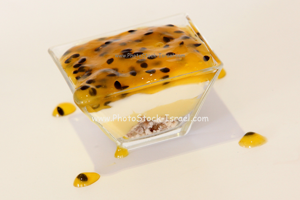 Passion fruit and white chocolate mousse dessert