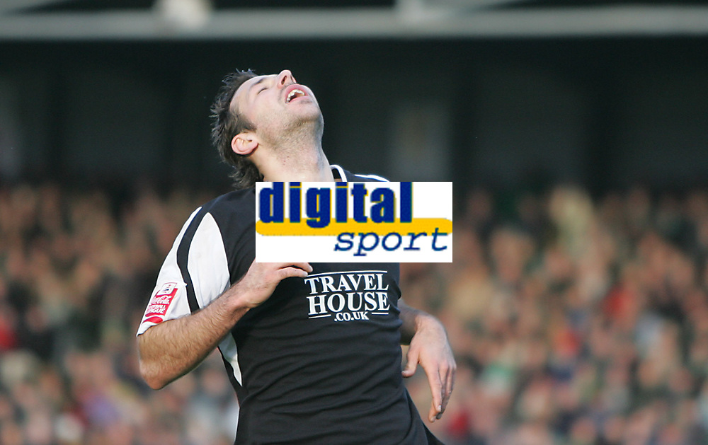 Photo: Lee Earle.<br /> Yeovil Town v Swansea City. Coca Cola League 1. 24/02/2007.Swansea's Pawel Abbott looks dejected after going close to scoring later in the game.
