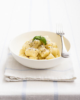 Simple bright look for this light coloured dish of excellent Gnocchi.<br /> Recipe photography.