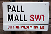 Street sign for Pall Mall, SW1, London. This street, made famous by the Monopoly board game is one of the grandest in London.