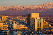 Anchorage the largest city in Alaska on the shores of Cook Inlet overlooking the Aaska and Chugach mountain ranges has a population of 275000 people,