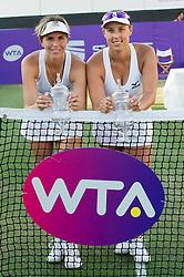María José Martínez Sánchez (ESP) and Andreja Klepac (SLO)  after winning the Mallorca Open at Country Club Santa Ponsa on June 22, 2018 in Mallorca, Spain. Photo Credit: Katja Boll/EVENTMEDIA.