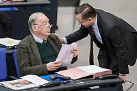 14 FEB 2019, BERLIN/GERMANY:<br /> Alexander Gauland (L), MdB, AfD, Fraktionsvorsitzender, Kay Gottschalk (R), MdB, AfD, Bundestagsdebatte, Plenum, Deutscher Bundestag<br /> IMAGE: 20190214-01-031<br /> KEYWORDS: Bundestag, Debatte