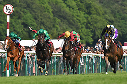 Classic Times ridden by Jack Mitchell (right) goes on to win the British Stallion Studs Cecil Frail (Class 1) (Sponsored by Armstrong Aggregates) at Haydock Park Racecourse.