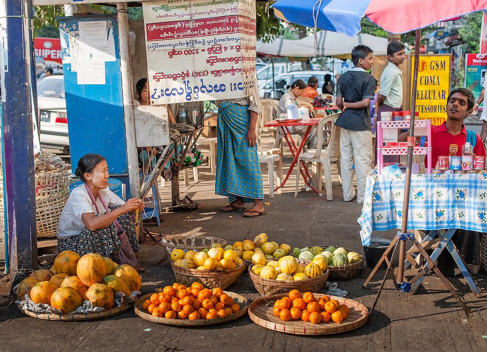 Fruit stall at street market in Yangon (Myanmar)
