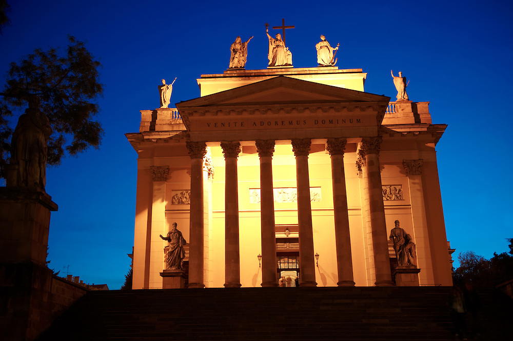 The neo classical Eger Basilica at night , Eger, Hungary .<br /> <br /> Visit our HUNGARY HISTORIC PLACES PHOTO COLLECTIONS for more photos to download or buy as wall art prints https://funkystock.photoshelter.com/gallery-collection/Pictures-Images-of-Hungary-Photos-of-Hungarian-Historic-Landmark-Sites/C0000Te8AnPgxjRg