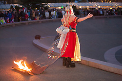 North America, United States, Washington, Seattle, fire dancers perform at Seattle Center during Winter Solstice Festival
