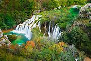 Travertine cascades on the Korana River, Plitvice Lakes National Park, Croatia