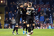 Manchester City midfielder Riyad Mahrez (26) celebates his goal 0-4 during the Premier League match between Burnley and Manchester City at Turf Moor, Burnley, England on 3 December 2019.