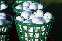 September 20, 2018 - Atlanta, GA, U.S. - ATLANTA, GA - SEPTEMBER 20: Titleist golf balls at the driving range before the first round of the PGA Tour Championship on September 20, 2018, at East Lake Golf Club in Atlanta, GA. (Photo by Michael Wade/Icon Sportswire) (Credit Image: © Michael Wade/Icon SMI via ZUMA Press)