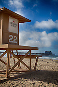 Lifeguard Tower 22 on the Beach Next to Newport Beach Pier